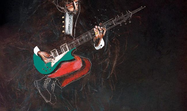 Incantation rock guitarist the who Pete Townshend wax crayon on scratchboard - Tommy Boureaux art illustration