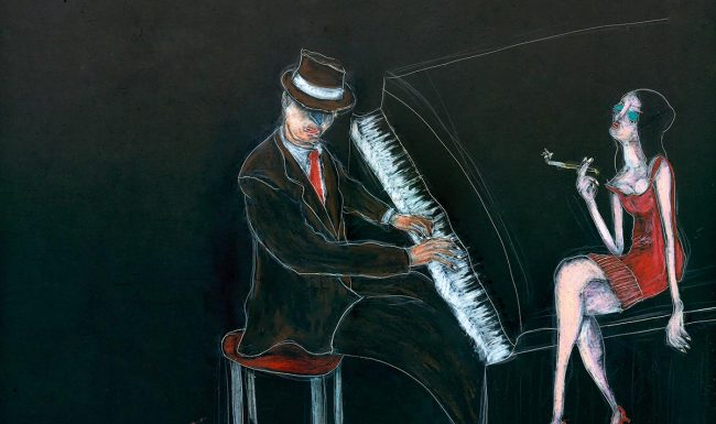 Music and me piano jazz concert wax crayon on scratchboard - Tommy Boureaux art illustration