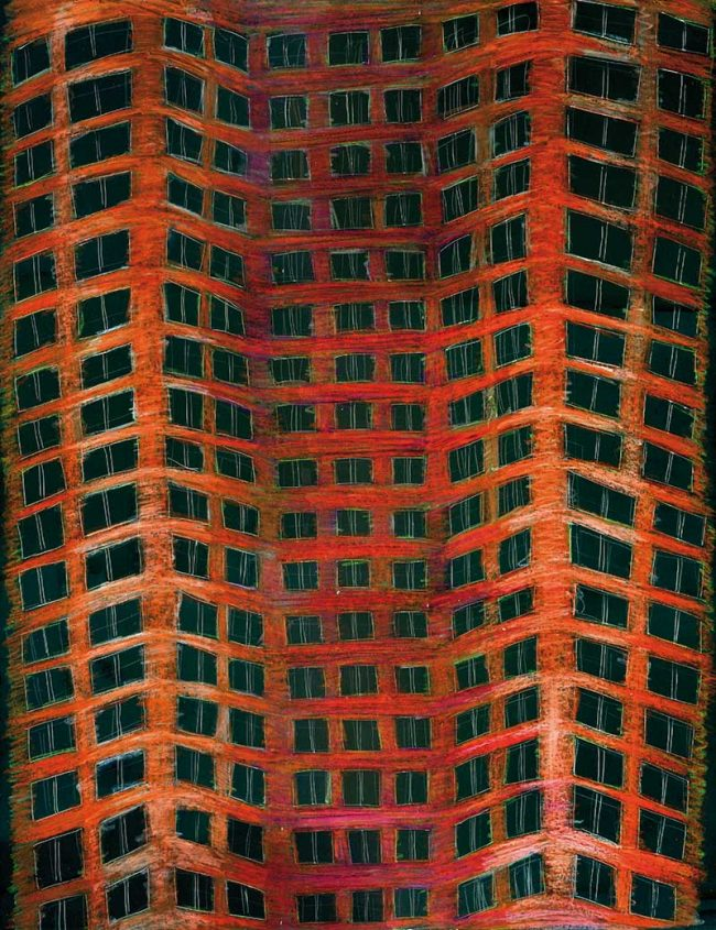 The building new-york wax crayon on scratchboard - Tommy Boureaux art illustration