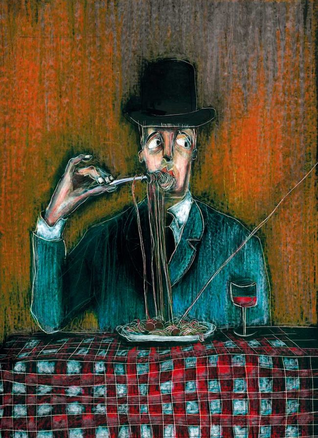 The gentleman and... Totò pasta wax crayon on scratchboard - Tommy Boureaux art illustration