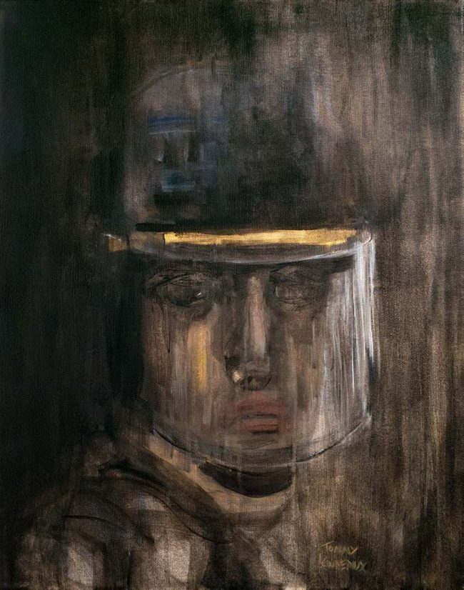 Injustice police crs state security policeman oil painting on canvas - Tommy Boureaux - art peinture à l'huile