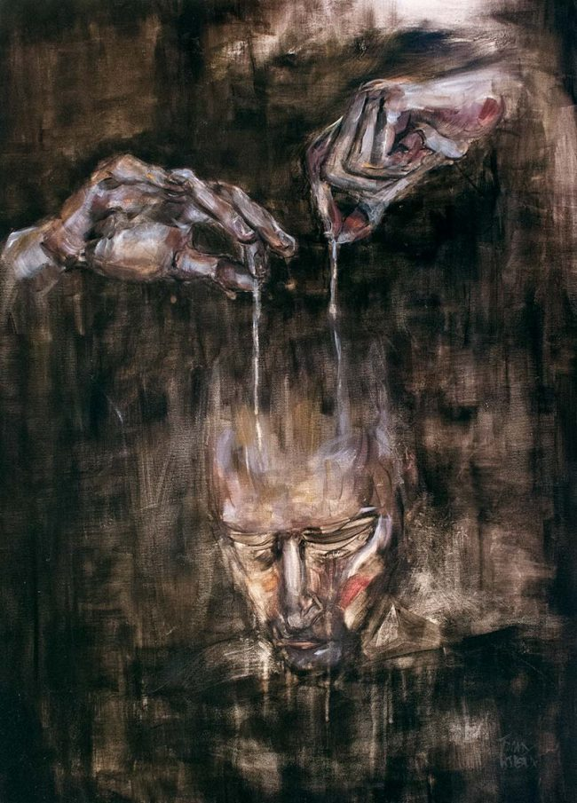 Marionnettiste des esprits marionnette manipulation oil painting on canvas - Tommy Boureaux - art peinture à l'huile